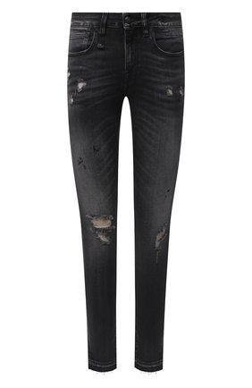 Женские джинсы R13 темно-серого цвета, арт. R13W4021-186A | Фото 1 (Длина (брюки, джинсы): Стандартные; Материал внешний: Хлопок; Силуэт Ж (брюки и джинсы): Узкие; Детали: Потертости; Стили: Гранж; Кросс-КТ: Деним)