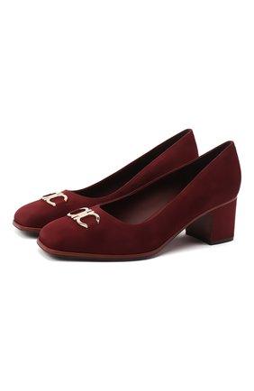 Женская замшевые туфли gancini SALVATORE FERRAGAMO  цвета, арт. Z-07329551C | Фото 1