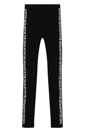 Детские брюки BALMAIN черного цвета, арт. 6N6090/NE740/4-10 | Фото 1
