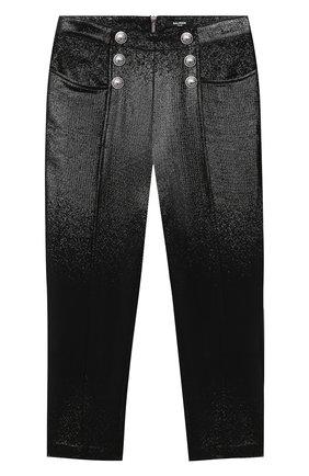 Детские шерстяные брюки BALMAIN черного цвета, арт. 6N6110/NB220/4-10 | Фото 1