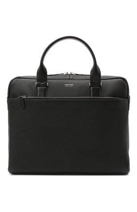 Мужская кожаная сумка для ноутбука TOM FORD черного цвета, арт. H0426P-LG0011 | Фото 1