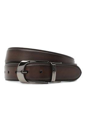 Мужской кожаный ремень ERMENEGILDO ZEGNA темно-коричневого цвета, арт. B1NY3G/J0805B | Фото 1