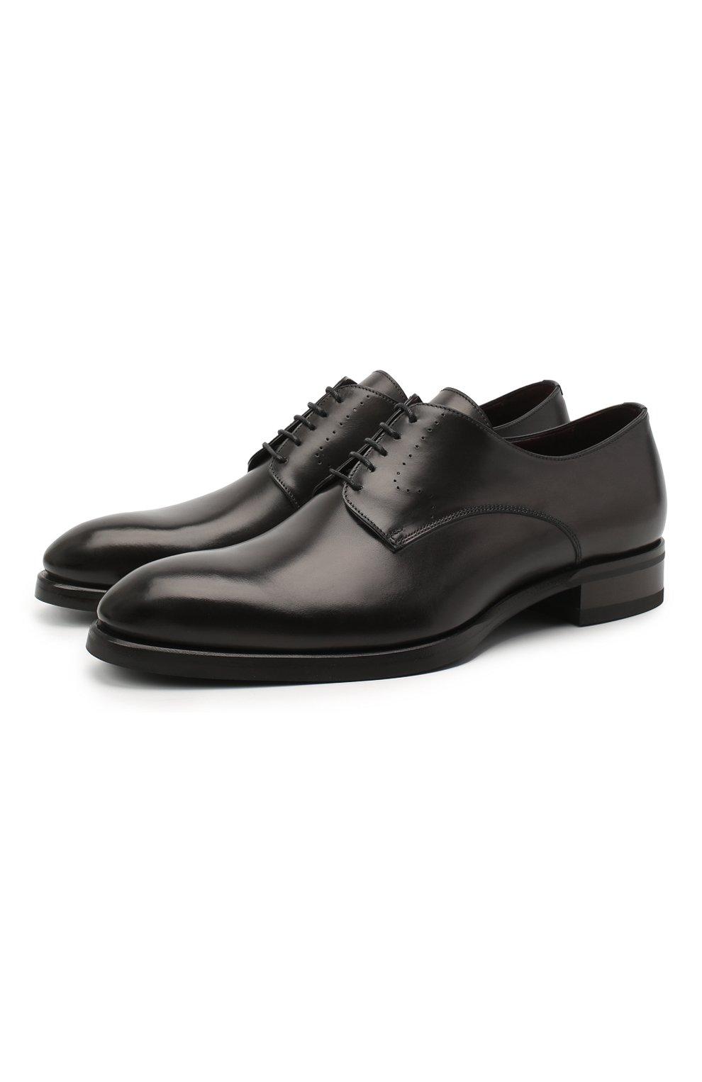 Мужские кожаные дерби BRIONI темно-серого цвета, арт. QEEX0L/P6757 | Фото 1