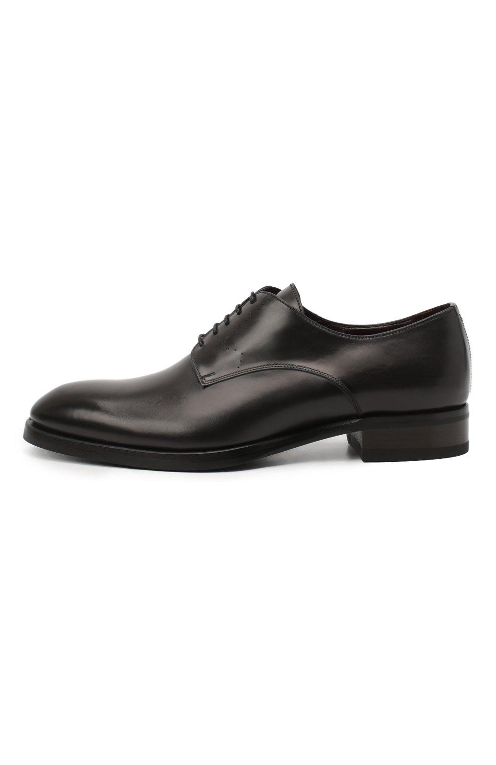 Мужские кожаные дерби BRIONI темно-серого цвета, арт. QEEX0L/P6757 | Фото 3