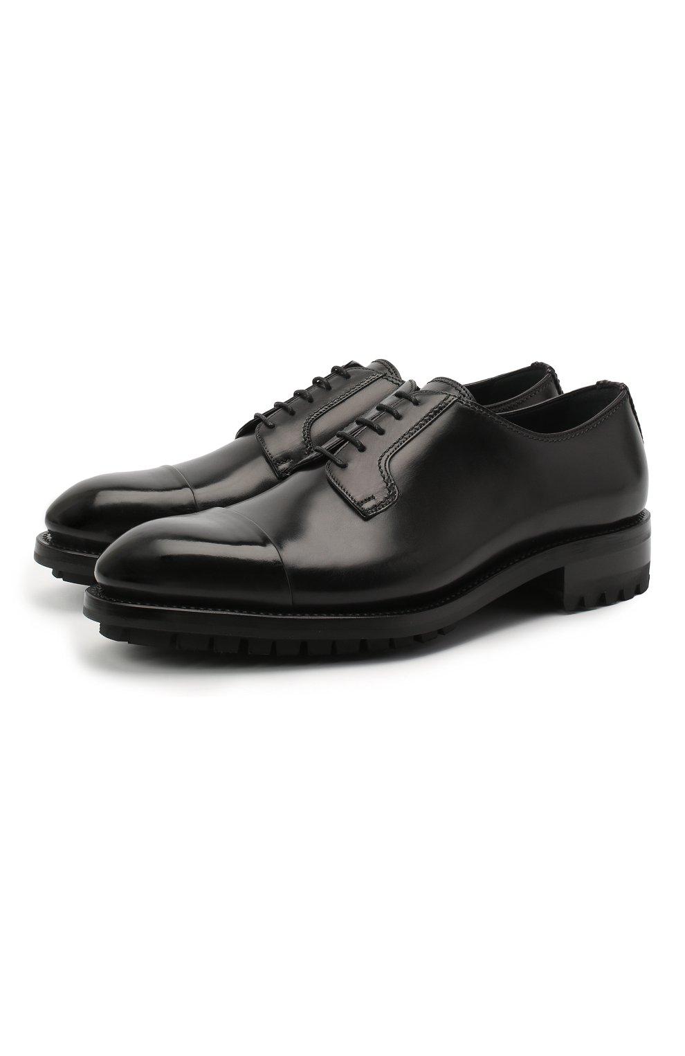 Мужские кожаные дерби BRIONI черного цвета, арт. QE1A0L/P6757 | Фото 1