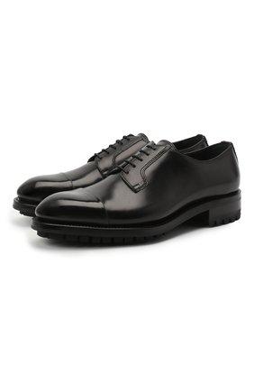 Мужской кожаные дерби BRIONI черного цвета, арт. QE1A0L/P6757 | Фото 1