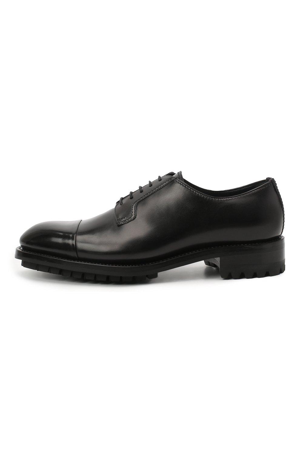 Мужские кожаные дерби BRIONI черного цвета, арт. QE1A0L/P6757 | Фото 3