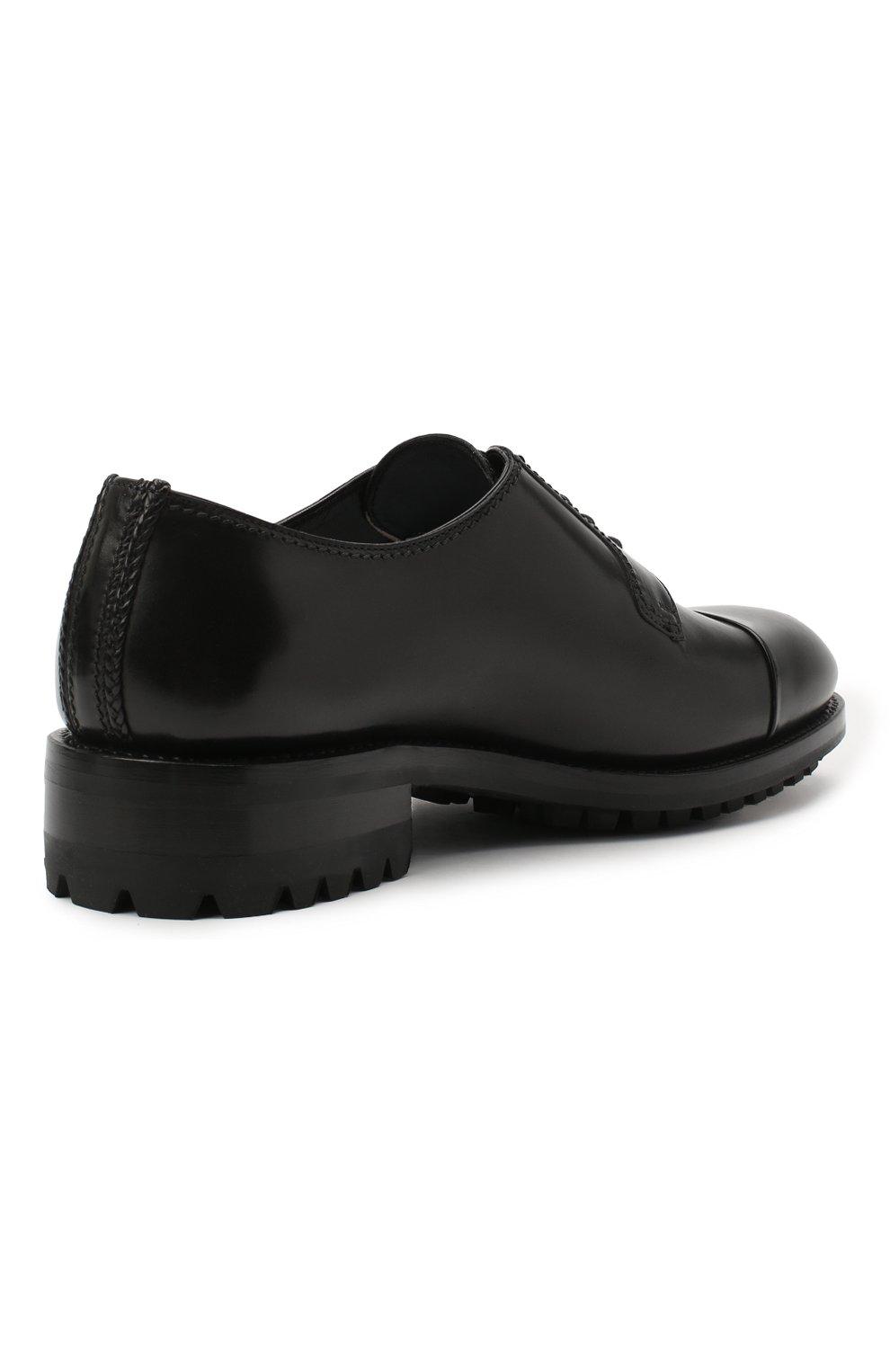 Мужские кожаные дерби BRIONI черного цвета, арт. QE1A0L/P6757 | Фото 4