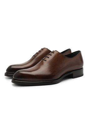 Мужские кожаные оксфорды BRIONI коричневого цвета, арт. QEH10L/P6757 | Фото 1
