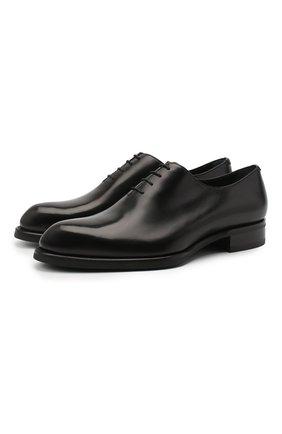 Мужские кожаные оксфорды BRIONI черного цвета, арт. QEH10L/P6757 | Фото 1
