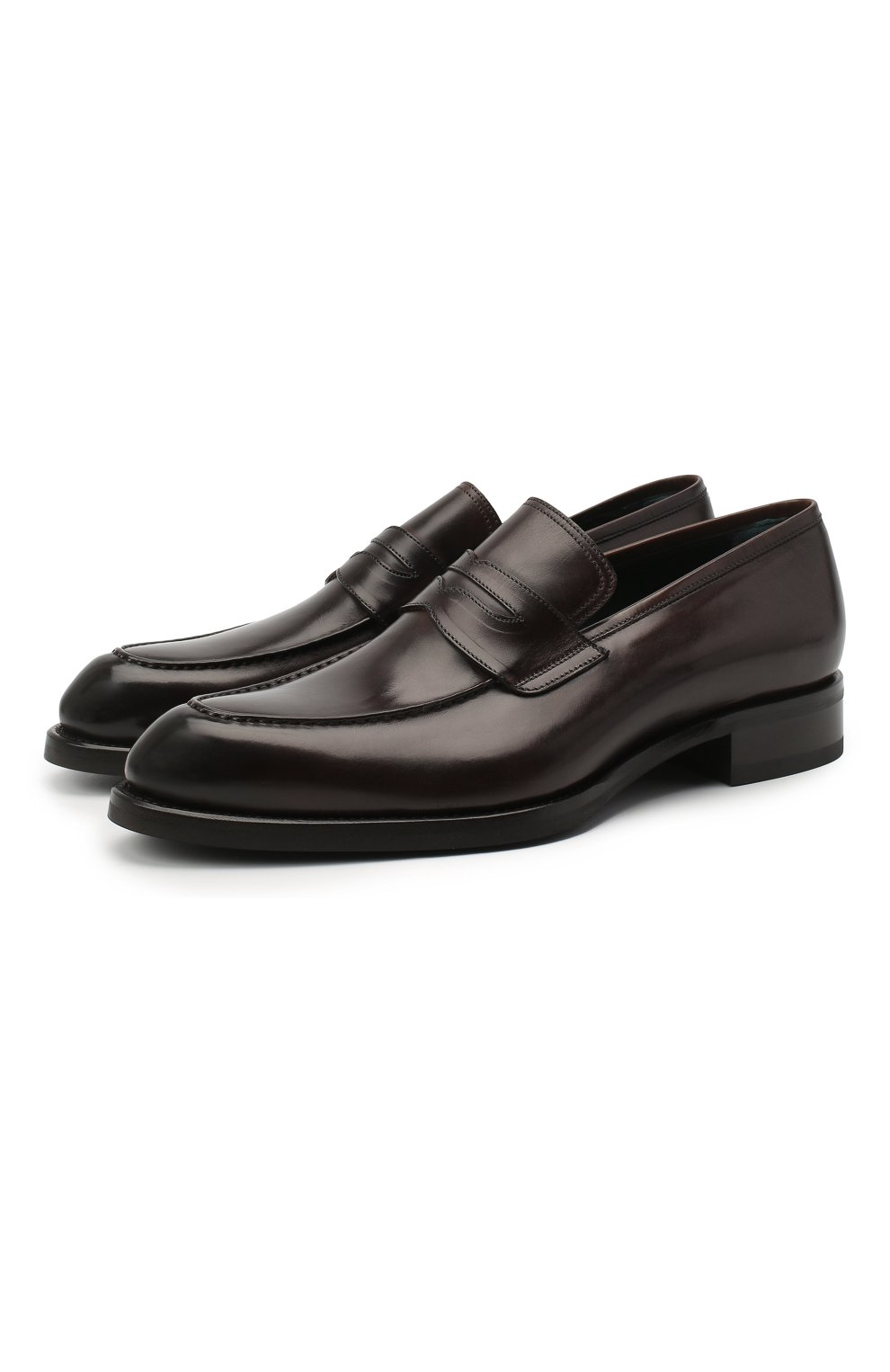 Мужские кожаные пенни-лоферы BRIONI темно-коричневого цвета, арт. QFDL0L/P6757   Фото 1