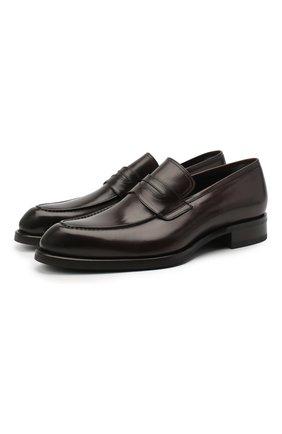 Мужские кожаные пенни-лоферы BRIONI темно-коричневого цвета, арт. QFDL0L/P6757 | Фото 1