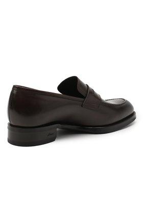 Мужские кожаные пенни-лоферы BRIONI темно-коричневого цвета, арт. QFDL0L/P6757   Фото 4