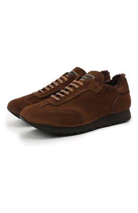 Мужские замшевые кроссовки BRIONI коричневого цвета, арт. QHI90L/09734 | Фото 1