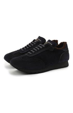 Мужские замшевые кроссовки BRIONI темно-синего цвета, арт. QHI90L/09734 | Фото 1