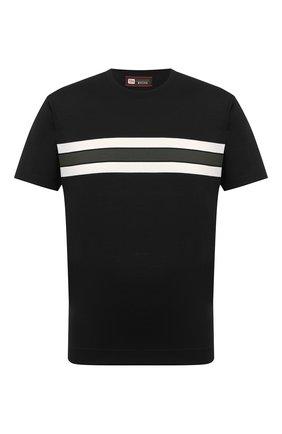 Мужская шерстяная футболка Z ZEGNA черного цвета, арт. VV379/ZZT622 | Фото 1 (Рукава: Короткие; Материал внешний: Шерсть; Длина (для топов): Стандартные; Принт: С принтом; Мужское Кросс-КТ: Футболка-одежда; Стили: Кэжуэл)