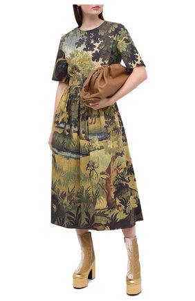 Женское хлопковое платье OSCAR DE LA RENTA зеленого цвета, арт. 20PN204LDP | Фото 2