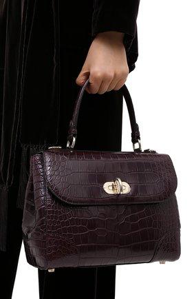 Женская сумка из кожи аллигатора tiffin 27 RALPH LAUREN бордового цвета, арт. 435619990/AMIS   Фото 2
