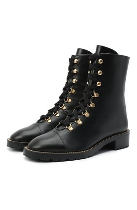 Женские кожаные ботинки STUART WEITZMAN черного цвета, арт. S0154 | Фото 1