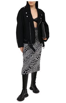 Женская шелковая юбка ALESSANDRA RICH черно-белого цвета, арт. FAB2287-F2975 | Фото 2