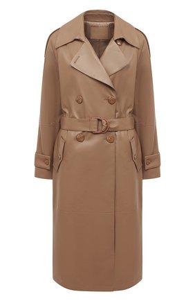 Женское кожаное пальто DROME бежевого цвета, арт. DPD5732P/D400P | Фото 1