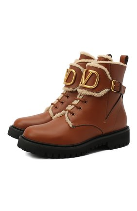 Женские кожаные ботинки valentino garavani vlogo VALENTINO коричневого цвета, арт. UW0S0Q03/JVA | Фото 1