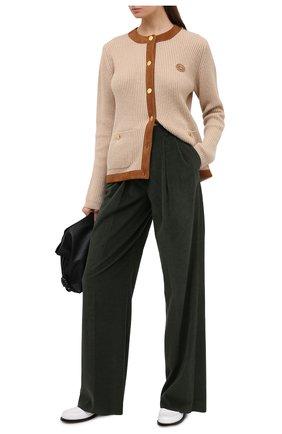 Женский шерстяной кардиган GUCCI светло-коричневого цвета, арт. 628935/XKBFL   Фото 2