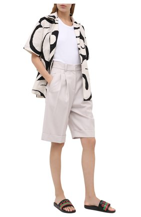 Женские кожаные шлепанцы pursuit GUCCI черного цвета, арт. 632184/DIR00 | Фото 2