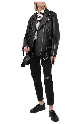 Женские кожаные кеды SANTONI черного цвета, арт. WBCE60713NEAPSSEN01   Фото 2
