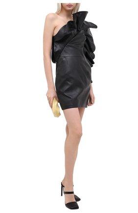 Женское кожаное платье ALEXANDRE VAUTHIER черного цвета, арт. 204LDR1351 0404 | Фото 2
