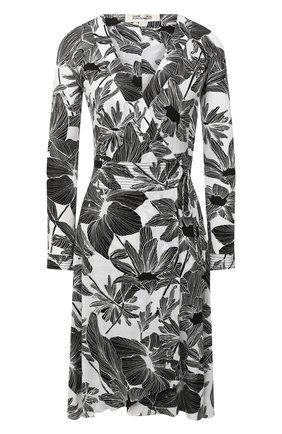 Женское платье из вискозы и шелка DIANE VON FURSTENBERG черно-белого цвета, арт. 15043DVF | Фото 1