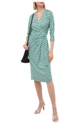 Женское шелковое платье DIANE VON FURSTENBERG зеленого цвета, арт. 15040DVF | Фото 2