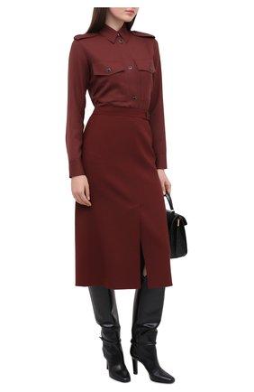 Женская шерстяная юбка LORO PIANA бордового цвета, арт. FAL3667 | Фото 2