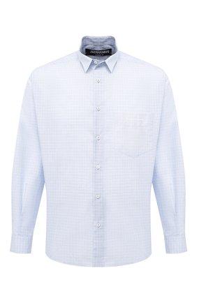 Мужская хлопковая рубашка JACQUEMUS голубого цвета, арт. 206SH01/103232 | Фото 1 (Материал внешний: Хлопок; Длина (для топов): Стандартные; Рукава: Длинные; Случай: Повседневный; Стили: Кэжуэл; Воротник: Кент)