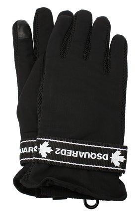 Мужские перчатки DSQUARED2 черного цвета, арт. GLM0011 11703502 | Фото 1