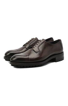 Мужские кожаные дерби BRIONI темно-коричневого цвета, арт. QE1A0L/P6757 | Фото 1