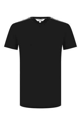 Мужские хлопковая футболка CALVIN KLEIN черного цвета, арт. KM0KM00475   Фото 1