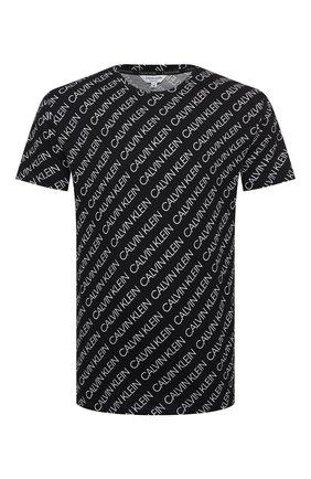 Мужские хлопковая футболка CALVIN KLEIN черно-белого цвета, арт. KM0KM00470   Фото 1