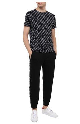 Мужские хлопковая футболка CALVIN KLEIN черно-белого цвета, арт. KM0KM00470   Фото 2