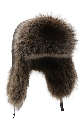 Мужская шапка-ушанка из меха енота KUSSENKOVV коричневого цвета, арт. 330908003159 | Фото 1