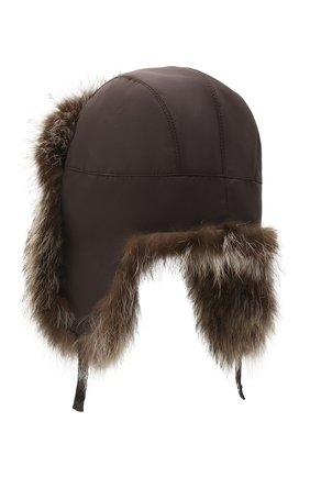 Мужская шапка-ушанка из меха енота KUSSENKOVV коричневого цвета, арт. 330908003159 | Фото 2