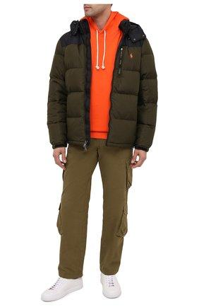 Мужская пуховая куртка POLO RALPH LAUREN темно-зеленого цвета, арт. 710812010 | Фото 2 (Материал подклада: Синтетический материал; Материал внешний: Синтетический материал; Материал утеплителя: Пух и перо; Длина (верхняя одежда): Короткие; Рукава: Длинные; Мужское Кросс-КТ: Верхняя одежда, Пуховик-верхняя одежда, пуховик-короткий; Стили: Кэжуэл; Кросс-КТ: Пуховик, Куртка)