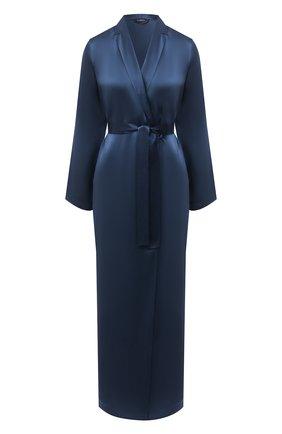 Женский шелковый халат LA PERLA синего цвета, арт. 0020293/LU | Фото 1