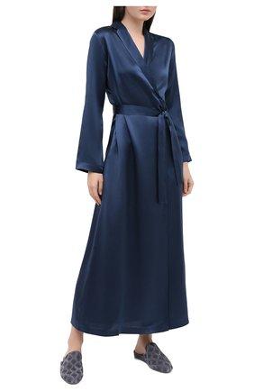 Женский шелковый халат LA PERLA синего цвета, арт. 0020293/LU | Фото 2