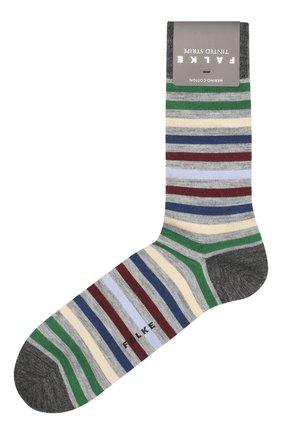 Мужские носки из смеси шерсти и хлопка tinted stripe FALKE светло-серого цвета, арт. 13279 | Фото 1