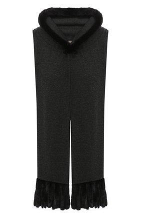 Женский капюшон KUSSENKOVV серого цвета, арт. 199302880602 | Фото 1