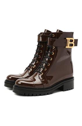Женские кожаные ботинки BALMAIN коричневого цвета, арт. UN0C502/LVRE | Фото 1