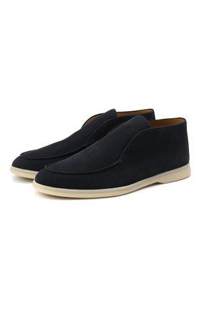 Мужские кожаные ботинки open walk LORO PIANA темно-синего цвета, арт. FAL2888 | Фото 1