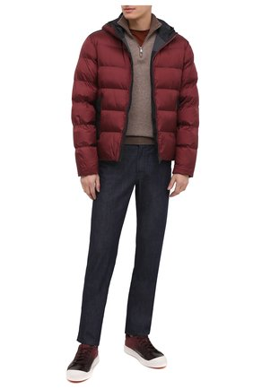 Мужские кожаные кеды SANTONI бордового цвета, арт. MBC021383BARRNKLB66 | Фото 2