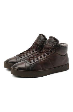 Мужские кожаные кеды SANTONI темно-коричневого цвета, арт. MBGL20870TMMPGSXT60 | Фото 1
